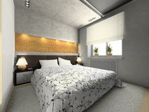 View on the modern bedroom royalty free illustration