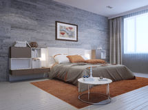 View of modern bedroom interior Stock Photo