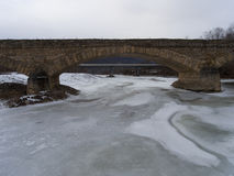 View of the modern bridge across the span of the old bridge Stock Photography