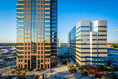 View of modern buildings in downtown Greensboro, North Carolina. Royalty Free Stock Photography