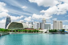 View of modern buildings and Marina Bay. Singapore skyline royalty free stock images