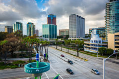 View of modern buildings and Shoreline Drive in Long Beach  Royalty Free Stock Images