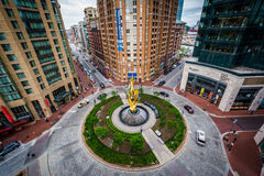 View of modern buildings and traffic circle in Harbor East, Balt Stock Photography