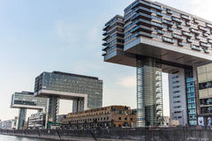 View of modern buildings on the waterfront cologne. Royalty Free Stock Image