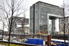 View of modern buildings on the waterfront cologne. Stock Photography