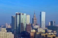 View of the modern center of Warsaw. Warsaw,Poland. 31 January 2017.Warsaw downtown aerial view Royalty Free Stock Photo