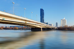 View modern city with Danube river in Vienna, Austria Royalty Free Stock Image