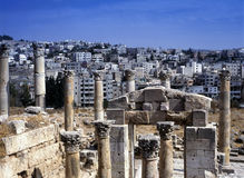 View at the modern city of Jerash, Jordan Stock Photo