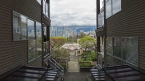 View on modern city from old building prspective Vancouver Canada stock images