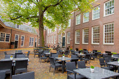 View on modern cool cafe on the building background Royalty Free Stock Image