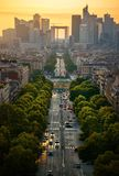 La Defense in evening. View on the modern district la Defense in Paris Royalty Free Stock Photo