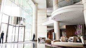View of modern edgy hotel lobby stock video footage