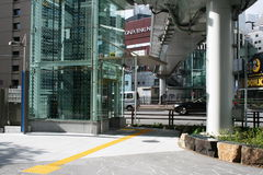 View of modern elevator in the street in Shiodome, Tokyo Royalty Free Stock Image
