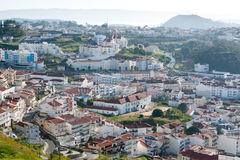 View on modern fishing village Nazare in Portugal Royalty Free Stock Photos