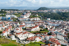 View on modern fishing village Nazare in Portugal Stock Photography