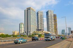 View of modern high-rise buildings. Colombo