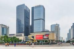 View of modern high-rise buildings from Tianfu Square, Chengdu. Chengdu, China - September 25, 2017: Scenic view of modern high-rise buildings from Tianfu Square stock photos