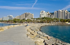 View on modern hotels at resort city of Eilat Royalty Free Stock Images