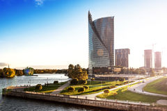 View of the modern house on the waterfront Riga Royalty Free Stock Image