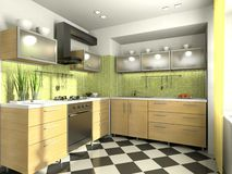 View on the modern kitchen. 3D Stock Photos