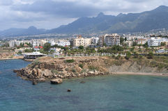 View of the modern Kyrenia (Girne) with the waters of the Mediterranean sea. Cyprus Stock Photography