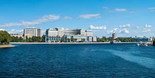 View of the modern multi-storey houses on the Ushakovskaya embankment in St. Petersburg royalty free stock images