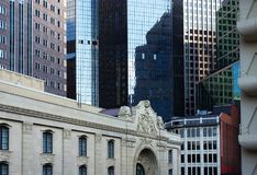 View of Pittsburgh city center. View of modern and old buildings in downtown Pittsburgh PA Stock Images