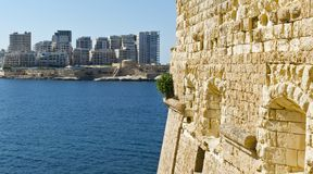 Sliema from the Fort of Valletta. Stock Image