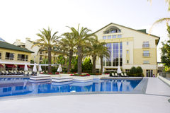 View of a modern resort with pool in Belek, Antaly Royalty Free Stock Photo