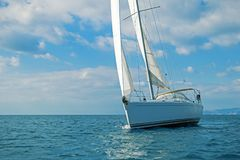 Modern sailing boat at the Aegean sea. View of a modern sailing boat cruising the Aegean sea, Greece Royalty Free Stock Photography