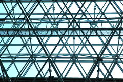 View through modern skylight of blue glass. Royalty Free Stock Image