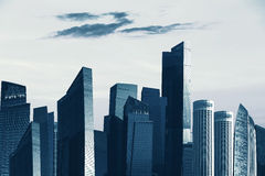 View of modern skyscrapers in business district against beautifu Royalty Free Stock Image