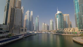 View of modern skyscrapers and channel in Dubai stock footage