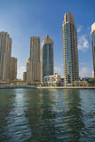 Dubai Marina. View at modern skyscrapers in Dubai Marina in Dubai, UAE. When the entire development is complete, it will accommodate more than 120,000 people Royalty Free Stock Photography