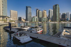 Dubai Marina. View at modern skyscrapers in Dubai Marina in Dubai, UAE. When the entire development is complete, it will accommodate more than 120,000 people Stock Image
