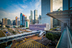 View of modern skyscrapers and a major intersection in Central, Royalty Free Stock Photography