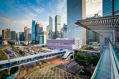 View of modern skyscrapers and a major intersection in Central, Royalty Free Stock Photo