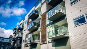 Apartment block in Aarhus Denmark. View of modern style city centre apartment block in Aarhus Denmark royalty free stock image