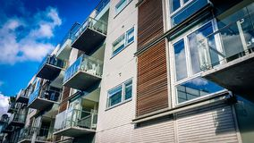 Apartment block in Aarhus Denmark. View of modern style city centre apartment block in Aarhus Denmark royalty free stock photo