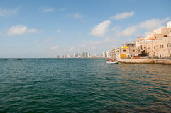 View of the modern Tel Aviv from old city . Royalty Free Stock Photos