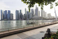 View of the modern urban skyline. View of the Singapore modern urban skyline with numerous skyscrapers as seen from Marina Garden Royalty Free Stock Photography