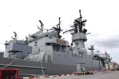 View of modern warship Stock Photo