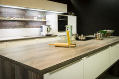 View into modern wooden optic kitchen Royalty Free Stock Photo
