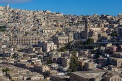 View of Modica and the San Giorgio cathedral. Sicily, Italy Stock Photo