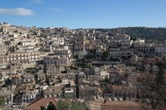 View of Modica and San Giorgio cathedral. In Sicily, Italy Stock Photography