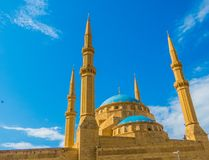 Mohammad Al-Amin Mosque in Beirut, Lebanon. View of the Mohammad Al-Amin Mosque in Beirut, Lebanon Royalty Free Stock Photos