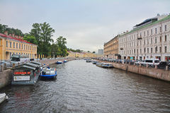 View of Moika River from Green Bridge in Saint Petersburg, Russia Royalty Free Stock Photography