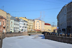 View of Moika river at winter Stock Photo