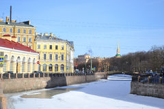 View of Moika river at winter Stock Image