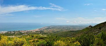 View from the mointain to sea  in Spain. Stock Photos